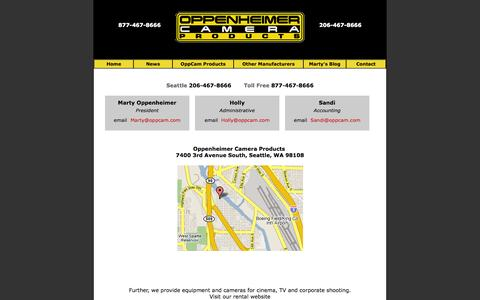 Screenshot of Contact Page oppenheimercameraproducts.com - Contact & Location - Oppenheimer Camera Products - captured Sept. 30, 2014