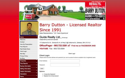 Screenshot of Login Page barrydutton.com - Barry Dutton, Sales Representative :: Guide Realty Limited, Brokerage :: 905.723.5281 - captured Oct. 3, 2014