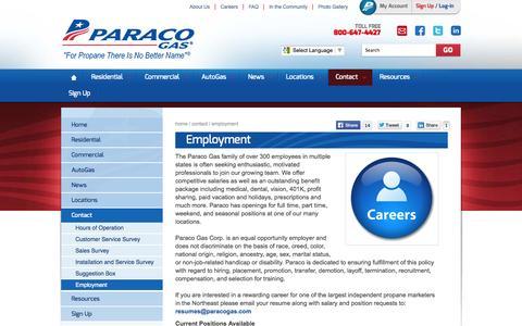 Screenshot of Jobs Page paracogas.com - Employment | Propane Company Jobs | Paraco Gas - captured Oct. 10, 2014