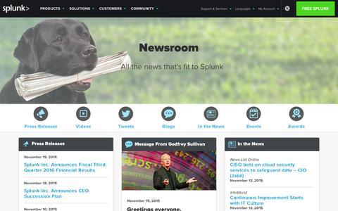 Screenshot of Press Page splunk.com - News, Press Releases, Videos, Blogs, Events   Newsroom   Splunk - captured Nov. 25, 2015