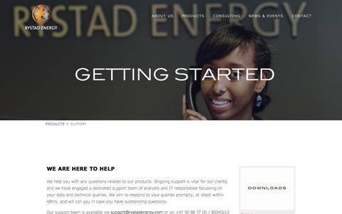 Screenshot of Support Page rystadenergy.com - Getting Started - captured June 15, 2017