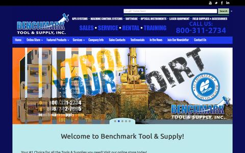 Screenshot of Home Page benchmarksupply.com - GPS, Machine Control, Optical Instruments, Laser Equipment, Field Supplies - captured Oct. 5, 2014