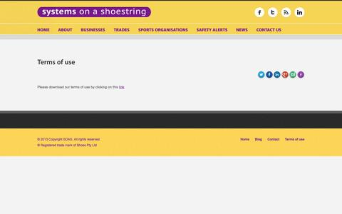 Screenshot of Terms Page soas.net.au - Terms of use - Systems on a Shoestring - captured Oct. 7, 2014
