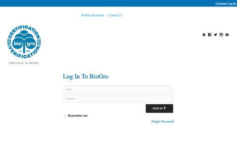 Screenshot of Login Page biogro.co.nz - BioGro - captured Oct. 5, 2018