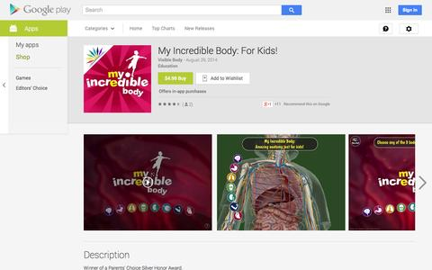 Screenshot of Android App Page google.com - My Incredible Body: For Kids! - Android Apps on Google Play - captured Nov. 5, 2014
