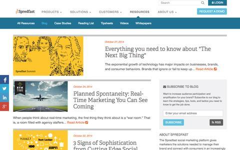 Screenshot of Blog spredfast.com - Social Marketing Blog   Spredfast - captured Oct. 28, 2014