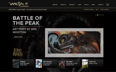 Screenshot of Home Page wetanz.com - Hobbit Collectibles, props and art and The Lord of the Rings Collectibles by the same Weta artists who worked on the movies. » WetaNZ.com - captured Jan. 23, 2015