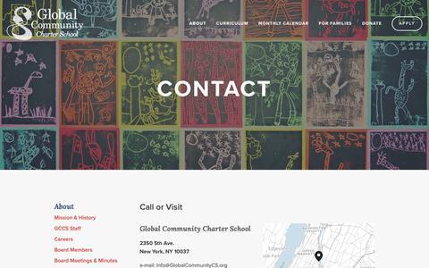 Screenshot of Contact Page globalcommunitycs.org - Contact — Global Community Charter School - captured Sept. 28, 2018
