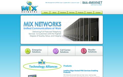 Screenshot of Products Page mixnetworks.com - Products | MIX Networks - captured Nov. 1, 2014