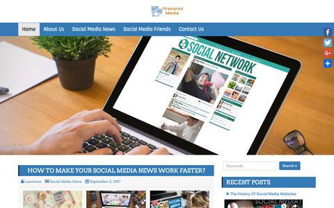 Screenshot of Home Page prepared-media.com - Prepared Media | Make Your Social Media News Work Faster - captured Oct. 26, 2018