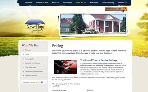 Screenshot of Pricing Page newhopefh.com - Pricing | New Hope Funeral Home - Sunnyvale, TX - captured Oct. 18, 2018