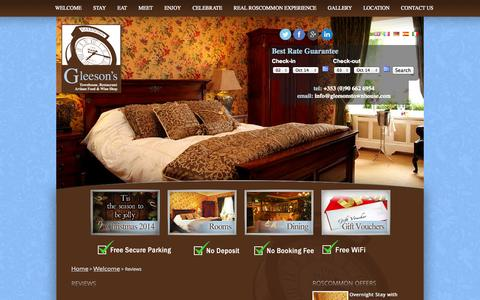 Screenshot of Testimonials Page gleesonstownhouse.com - Gleesons Townhouse Roscommon - REVIEWS - Roscommon Accommodation, Bed & Breakfast In Roscommon - captured Oct. 2, 2014