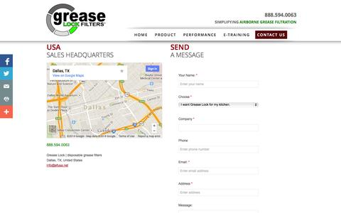 Screenshot of Privacy Page Contact Page greaselock.com - Grease Lock | Contact Us | 888.594.0063 - captured Oct. 22, 2014
