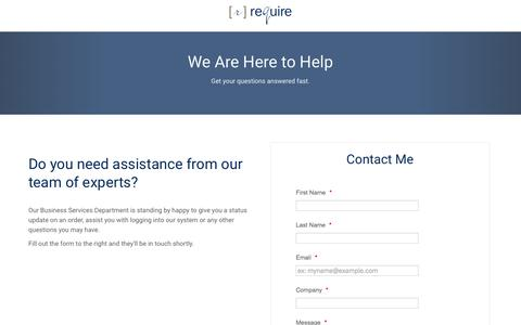 Screenshot of Support Page gorequire.com - Contact reQuire Support - captured Dec. 16, 2016