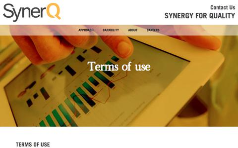 Screenshot of Terms Page synerq.com - Terms of use | Synerq - captured Sept. 21, 2018