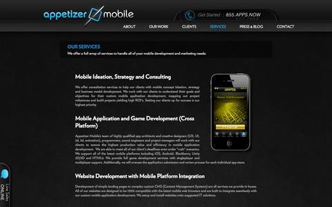 Screenshot of Services Page appetizermobile.com - Appetizer Mobile : Mobile Application Development | App Development | Smartphone Application Development - captured Sept. 13, 2014