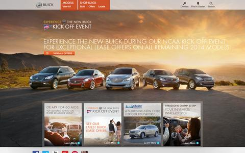 Screenshot of Home Page buick.com - 2014 Luxury Cars, Crossovers, SUVs and Sedans - captured Sept. 18, 2014