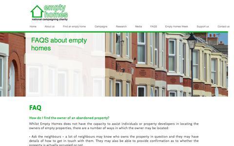 Screenshot of FAQ Page emptyhomes.com - FAQS - captured Nov. 8, 2016