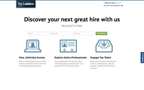 Screenshot of Landing Page theladders.com - Recruiting and Candidate Search | Passport | TheLadders - captured Oct. 27, 2014