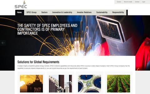 Screenshot of Home Page spec-pro.com - SPEC GROUP - captured Jan. 22, 2016