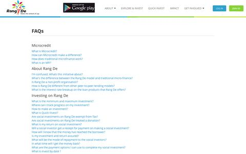 Screenshot of FAQ Page rangde.org - Rang De - Frequently Asked Questions - captured Sept. 23, 2014
