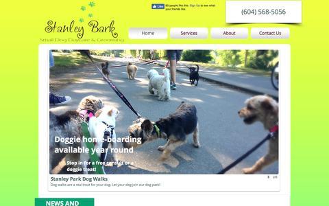 Screenshot of Home Page stanleybark.com - Stanley Bark | Downtown Vancouver Doggie Daycare - captured Nov. 4, 2017