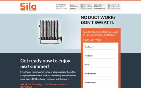 Screenshot of Landing Page sila.com - High Velocity Air Conditioning - No Ductwork Required! - captured March 15, 2017