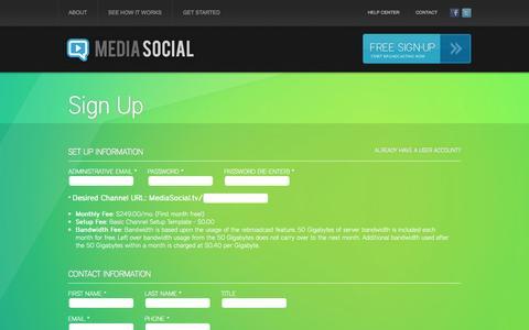 Screenshot of Signup Page mediasocial.tv - Media Social - Signup - captured Oct. 27, 2014