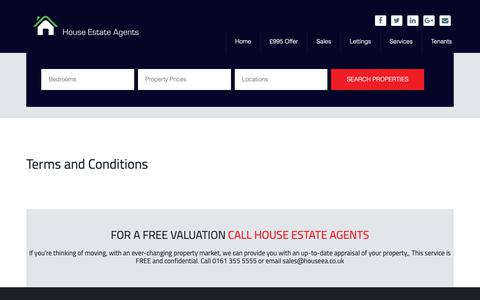 Screenshot of Terms Page houseea.co.uk - Terms and Conditions - House Estate Agents Stockport - captured Sept. 30, 2018