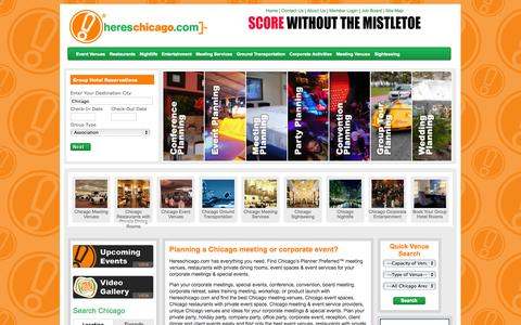 Screenshot of Home Page hereschicago.com - Chicago Meeting Venues-Chicago Event Spaces-Event Venues-Here'sChicago, Il - captured Oct. 2, 2014