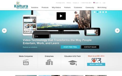Screenshot of Menu Page kaltura.com - Kaltura Video Platform - captured Sept. 12, 2014