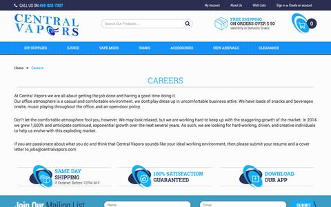 Screenshot of Jobs Page centralvapors.com - Careers - captured March 21, 2017