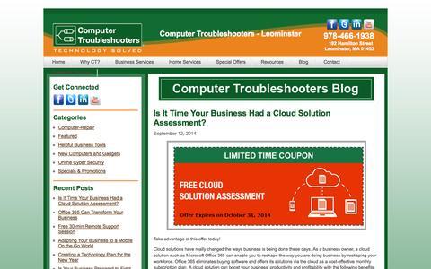 Screenshot of Blog ctleominster.com - Blog | Computer Troubleshooters - Leominster - captured Oct. 3, 2014