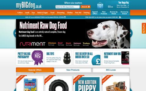 Screenshot of Home Page mybigdog.co.uk - LARGE Dog Breeds and BIG Dog products for GIANT Dogs in the UK - captured Oct. 8, 2014