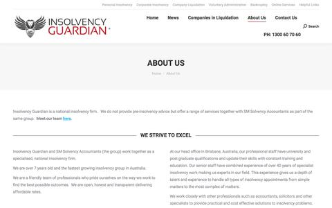 Screenshot of About Page insolvencyguardian.com.au - About Us - Insolvency Guardian - captured Nov. 15, 2019