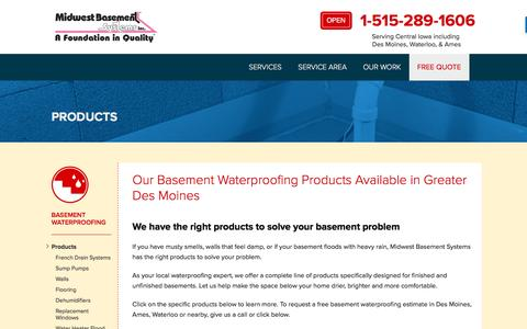 Screenshot of Products Page midwestbasementsystems.com - Basement Waterproofing Products from Midwest Basement Systems in Iowa - captured Aug. 11, 2016