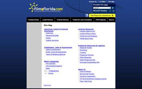 Screenshot of Site Map Page filminflorida.com - Film In Florida - Florida Film Commission, Florida Film Office, Florida locations, Florida films, Florida Film Industry - captured Oct. 6, 2014