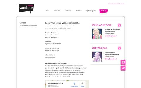 Screenshot of Contact Page vandeezreclame.nl - Vandeez | Contact - captured Oct. 7, 2014