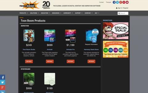 Screenshot of Products Page toonboom.com - All Products | Toon Boom Animation - captured Sept. 23, 2014