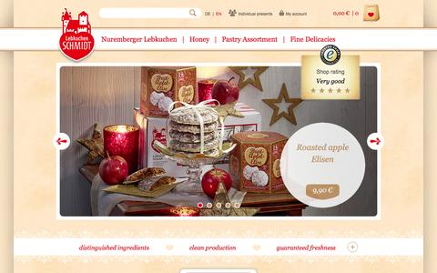Screenshot of Home Page lebkuchen-schmidt.com - Lebkuchen Schmidt | Original Nürnberger Lebkuchen purchase online - captured Sept. 19, 2014