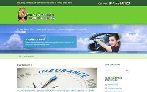 Screenshot of Services Page rweber.org - Our Services | Weber & Associates Insurance Agency, Inc. - captured Oct. 26, 2014