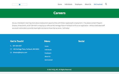 Screenshot of Jobs Page kcqinc.com - Careers – KCQ, INC - captured Sept. 20, 2018
