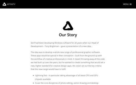 Screenshot of About Page serif.com - Affinity - Our Story - captured April 23, 2018