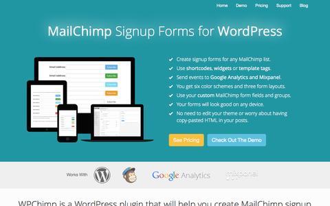 Screenshot of Home Page wpchimp.com - MailChimp Signup Forms for WordPress - WPChimp - captured Sept. 19, 2014