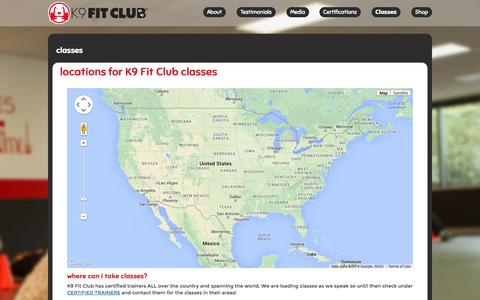 Screenshot of Locations Page k9fitclub.com - Find a K9 Fit Club near you! Visit us at these locations! - captured Nov. 3, 2014