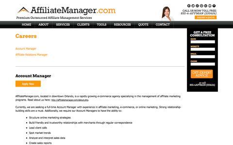 Screenshot of Jobs Page affiliatemanager.com - Affiliate Manager | Affiliate Manager Jobs - captured Oct. 31, 2014