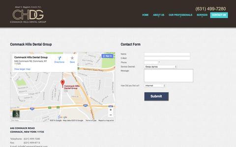 Screenshot of Contact Page commackdental.com - Contact Us Commack Hills Dental Group - captured Nov. 10, 2016