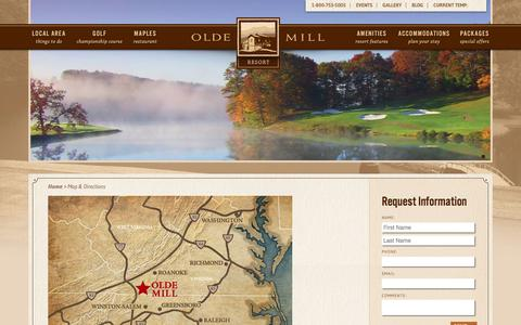 Screenshot of Contact Page Maps & Directions Page oldemill.net - Map & Directions | Olde Mill Resort - captured June 13, 2016