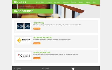 Screenshot of Case Studies Page mindlinksoft.com - Case Studies - captured Oct. 6, 2014