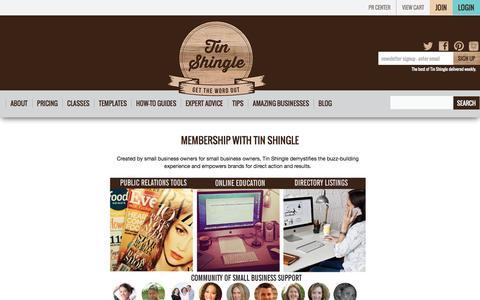 Screenshot of Signup Page Pricing Page tinshingle.com - Membership with Tin Shingle | Tin Shingle - captured Feb. 5, 2016